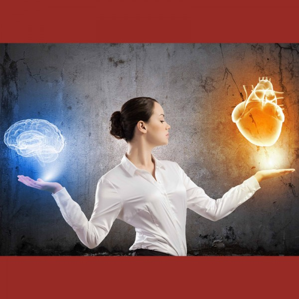 Image of a woman facing left with her arms up to shoulders height with 3D holograms of a brain in the right hand and a heart in the left hand (Branding image for emotional intelligence)
