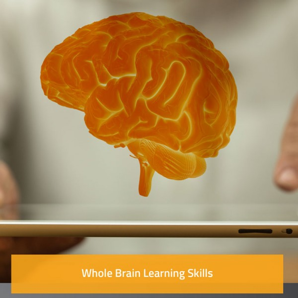 Image of a brain hologram above an ipad (Whole brain learning skills)