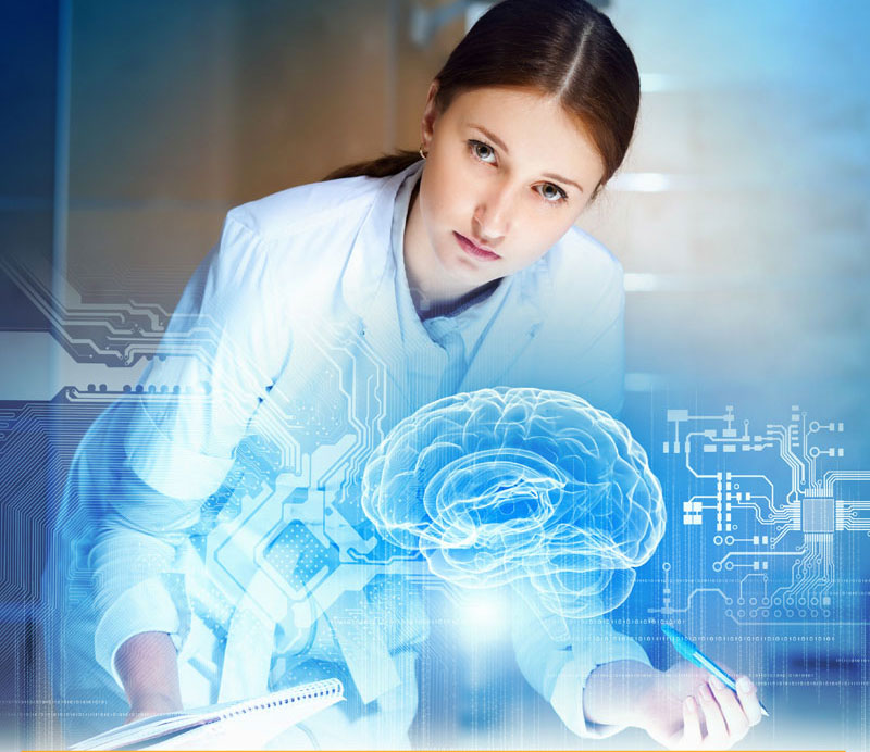 Woman in a lab coat standing in front of a 3D hologram of a brain