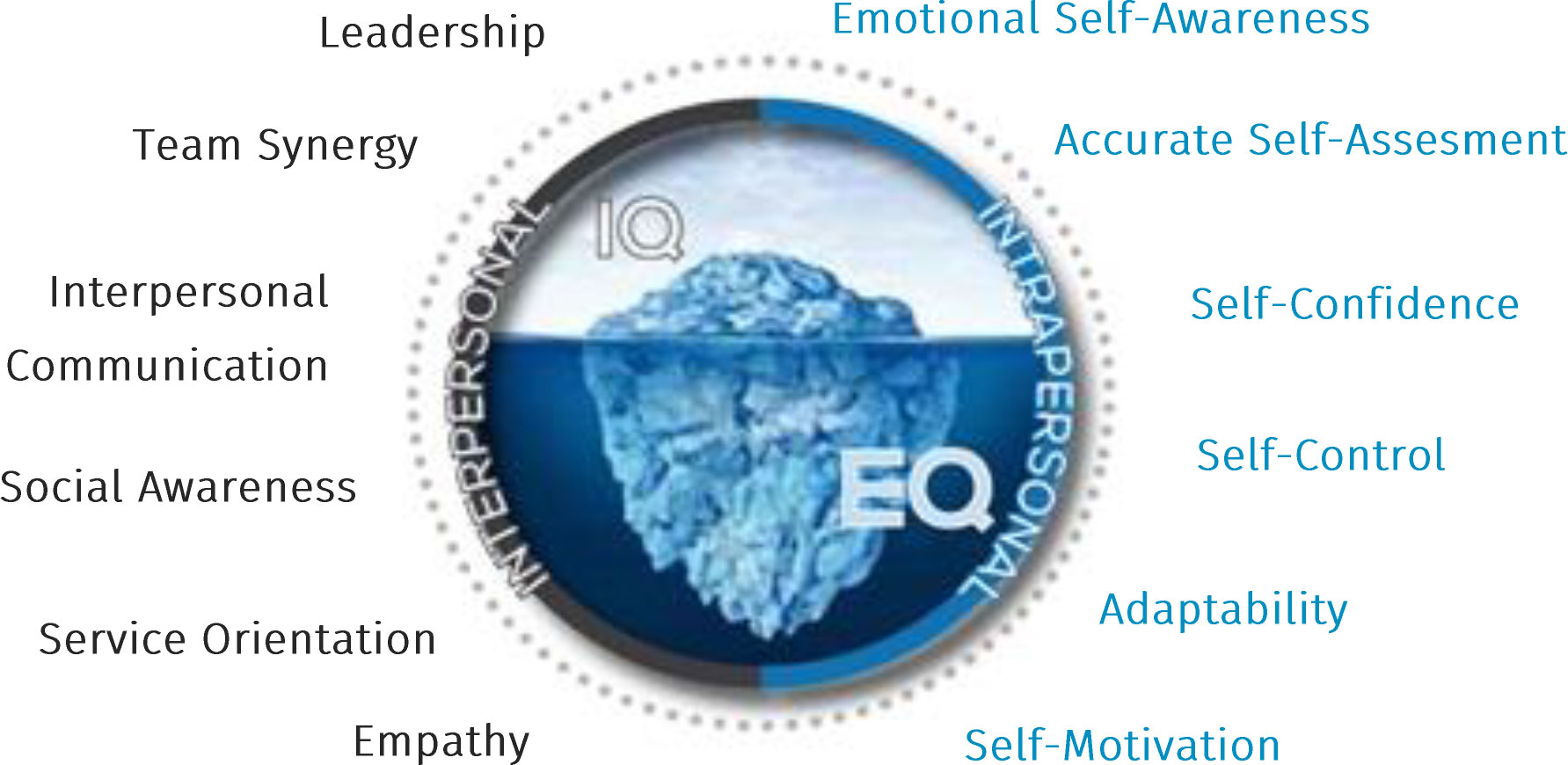 Image of a iceberg illustrating the 12 emotional intelligence competencies