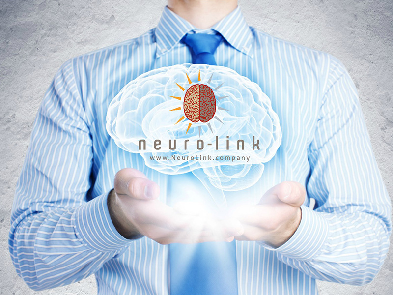 Photo illustration of a man holding a 3D hologram of a brain in both hands with the Neuro-Link logo in the brain