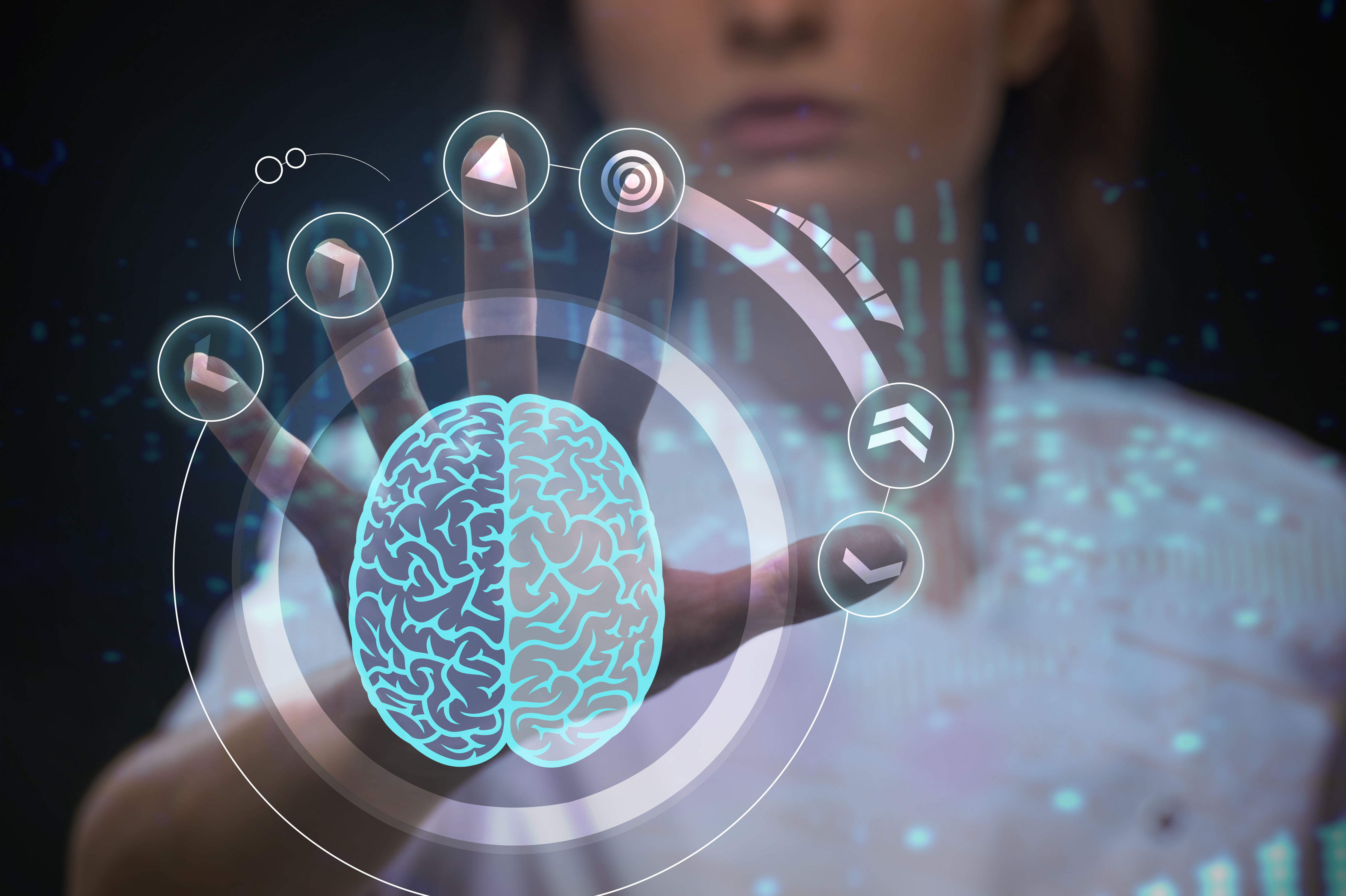 Futuristic touchscreen with a brain in the middle of the screen (Branding picture Drivers - brain performance optimization)