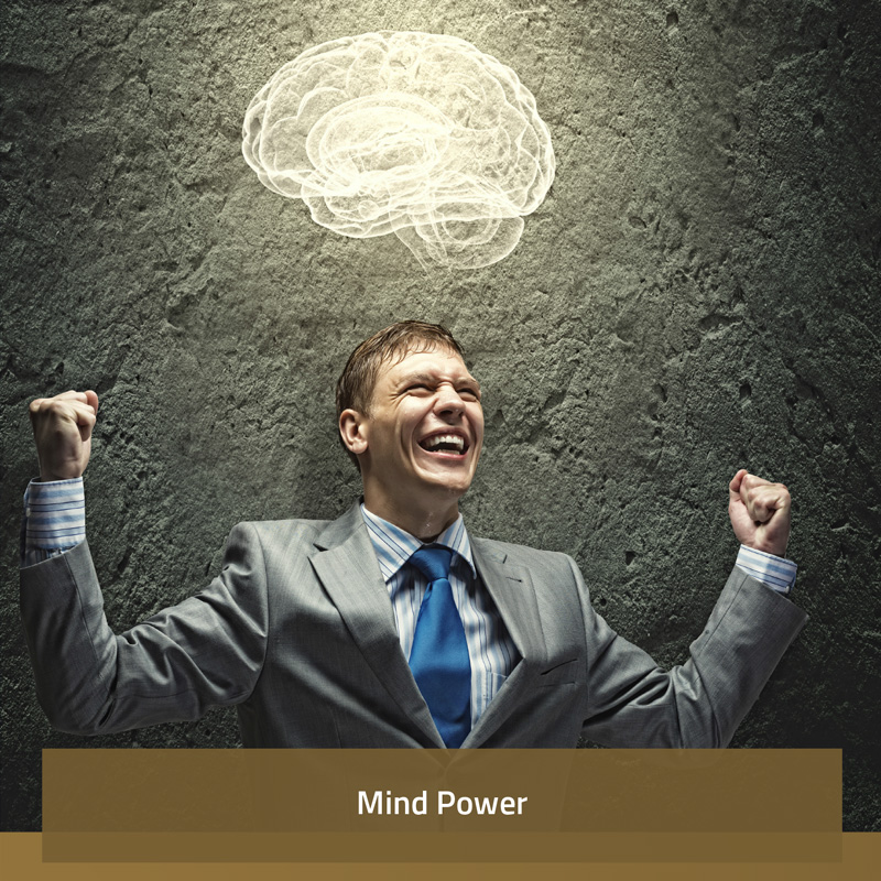 Image of a man in a suit with a smile on his face with a 3D hologram of a brain above his head (Branding image for mind power)