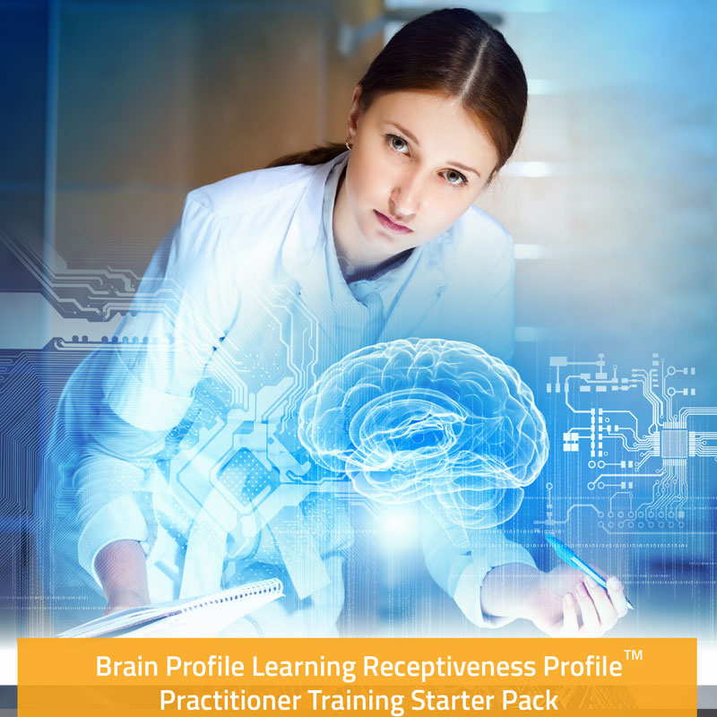 Woman in a lab coat standing in front of a 3D hologram of a brain (Branding Picture for Brain Profile Practitioner training)
