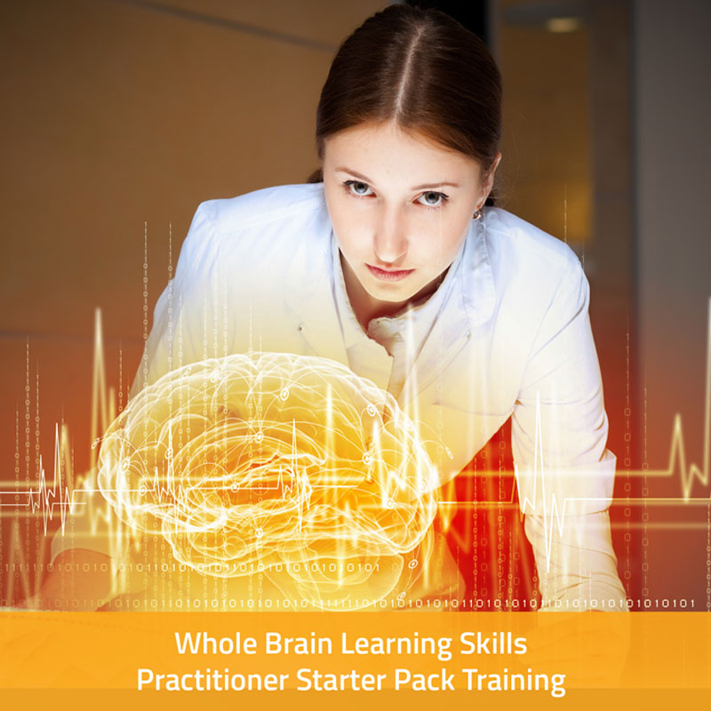 Woman in a lab coat standing in front of a 3D hologram of a brain (Branding image for whole brain learning)