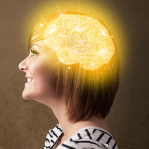 Side image of a girl looking forward with a hologram image of her brain( Toolbox branding image)