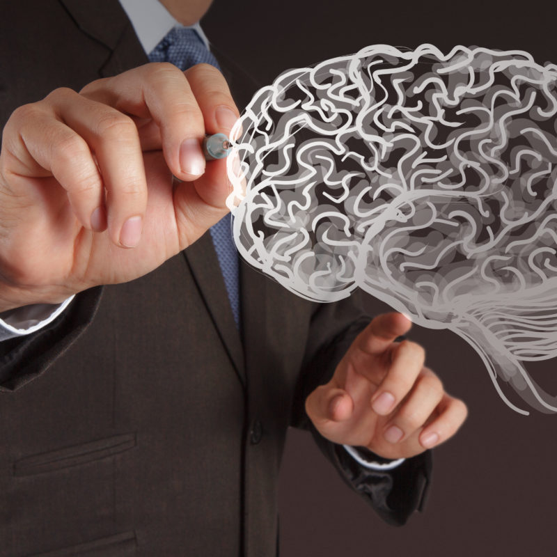 Man in suit draws a brain on the white board(Branding image for High Achiever emotional intelligence program and consulting services)